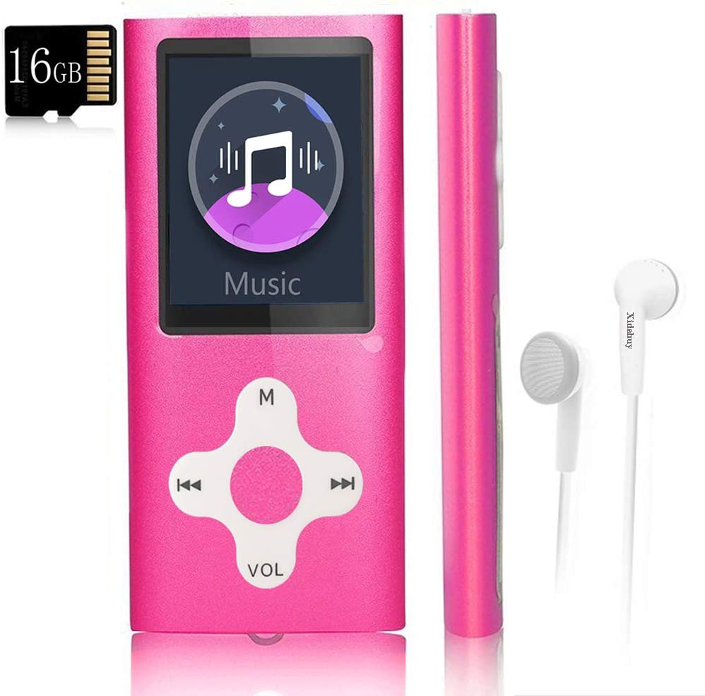 Mp3 Player,Music Player with a 16 GB Memory Card Portable Digital Music Player/Video/Voice Record/FM Radio/E-Book Reader/Photo Viewer/1.8 LCD (Rosered)