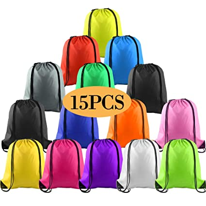 KUUQA 15Pcs Multicolor Drawstring Backpack Bags Sports Cinch Sack String Backpack Bulk Storage Bags for School Gym Traveling (Colorful)