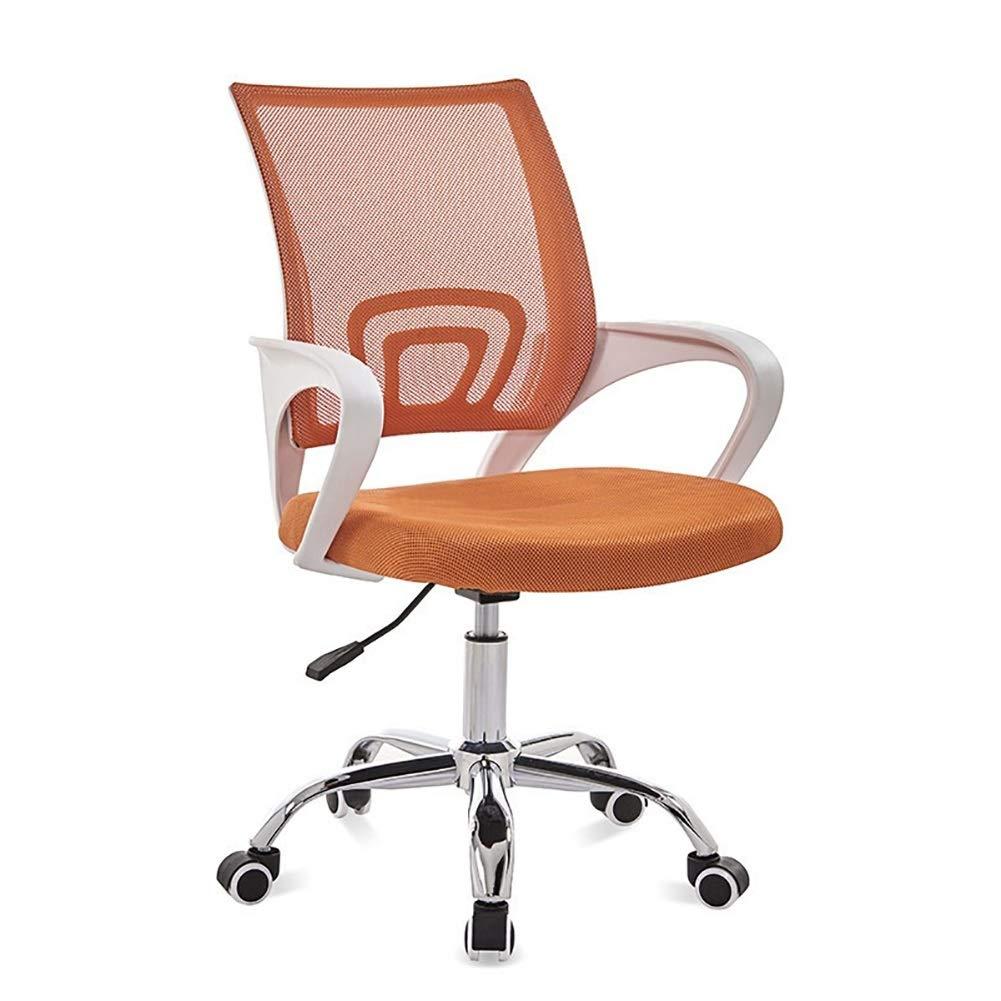 Kontorsstol skrivbordsstol datorstol hem kontor stol personalstol konferensstol student sovsal roterande lyft enkel lat bakstol (färg: svart) Orange