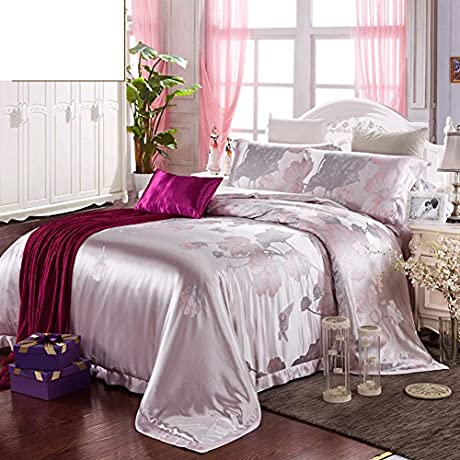 100 Mulberry Silk Four Piece Plant Flowers Four Sets 1Quilt Cover 1 Bed Sheets 2pillowslip A Queen2