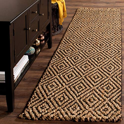 2'3 x 8' Brown Tan Geometric Runner Rug Rectangle, Black Diamond Pattern Hallway Carpet Southwest Theme Carpeting Rustic Themed for Entryway Living Area Entrance Way Kitchen, Jute Fiber