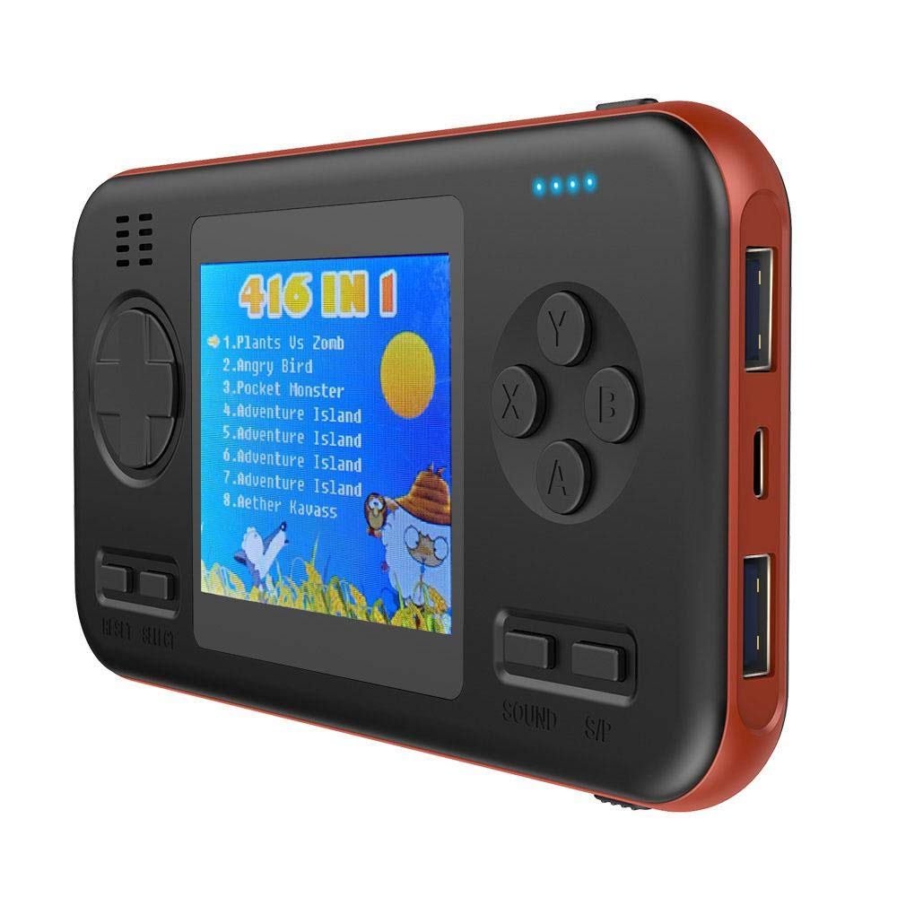 LAYOPO Retro Game Console, 416 Games Retro Game ConsoleMini Player Game Travel Portable Gaming System, Power Bank 8000mAh Battery 2.8 Inch Color Screen Handheld Game Machine Best Gift for Adult Kids