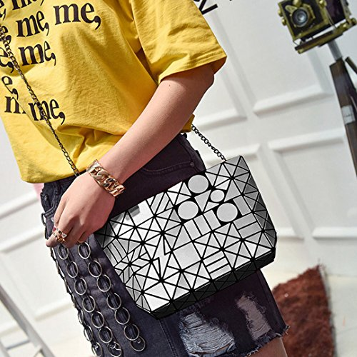 Handbags Women Crossbody Light Shoulder Purse Chain Metal Laser Geometric grey PU Bag Felice w6zd5qw