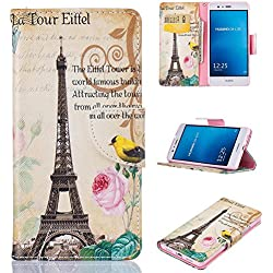Huawei P9 Lite Case, Firefish Synthetic Leather Wallet [Card Slots] Kickstand Magnetic Clip Non-Slip Shock Absorption Bumper Shell Perfect Fit for Huawei P9 Lite -Tower