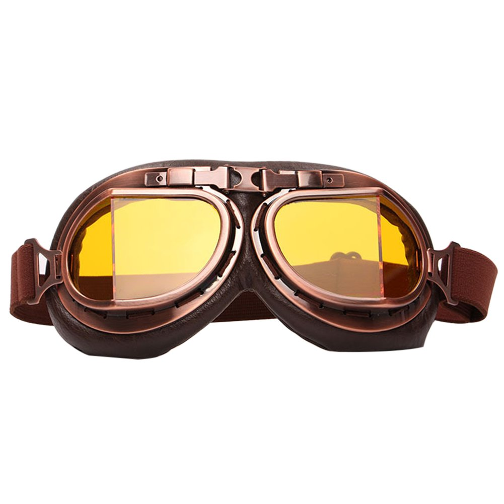 Finance Plan Vintage Men Women Outdoor Sports Wind-Proof Glasses Motorcycle Goggles Eyewear - Yellow Lens