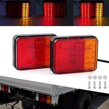 Hehemm 2 Stück 30 Led Rücklicht Anhänger Lichter Wasserdichte Rücklichter Rückteile Für Anhänger Lkw Boot 12v Auto