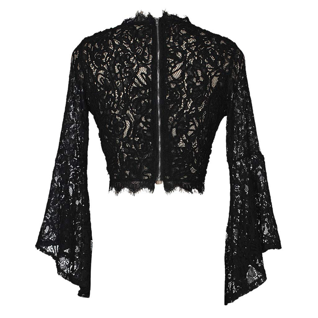 Womens Long Sleeve Tops,Women Long Sleeve Tops Ladies Blouse Lace Short Style Flared Cut-Out T-Shir