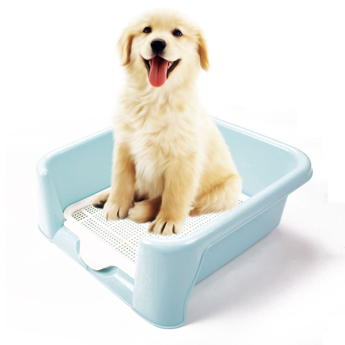 Litter Box For Female Dogs Puppy Toilet Trainer Urinal Fence Potty Patch Bedpan House Litter (Blue)