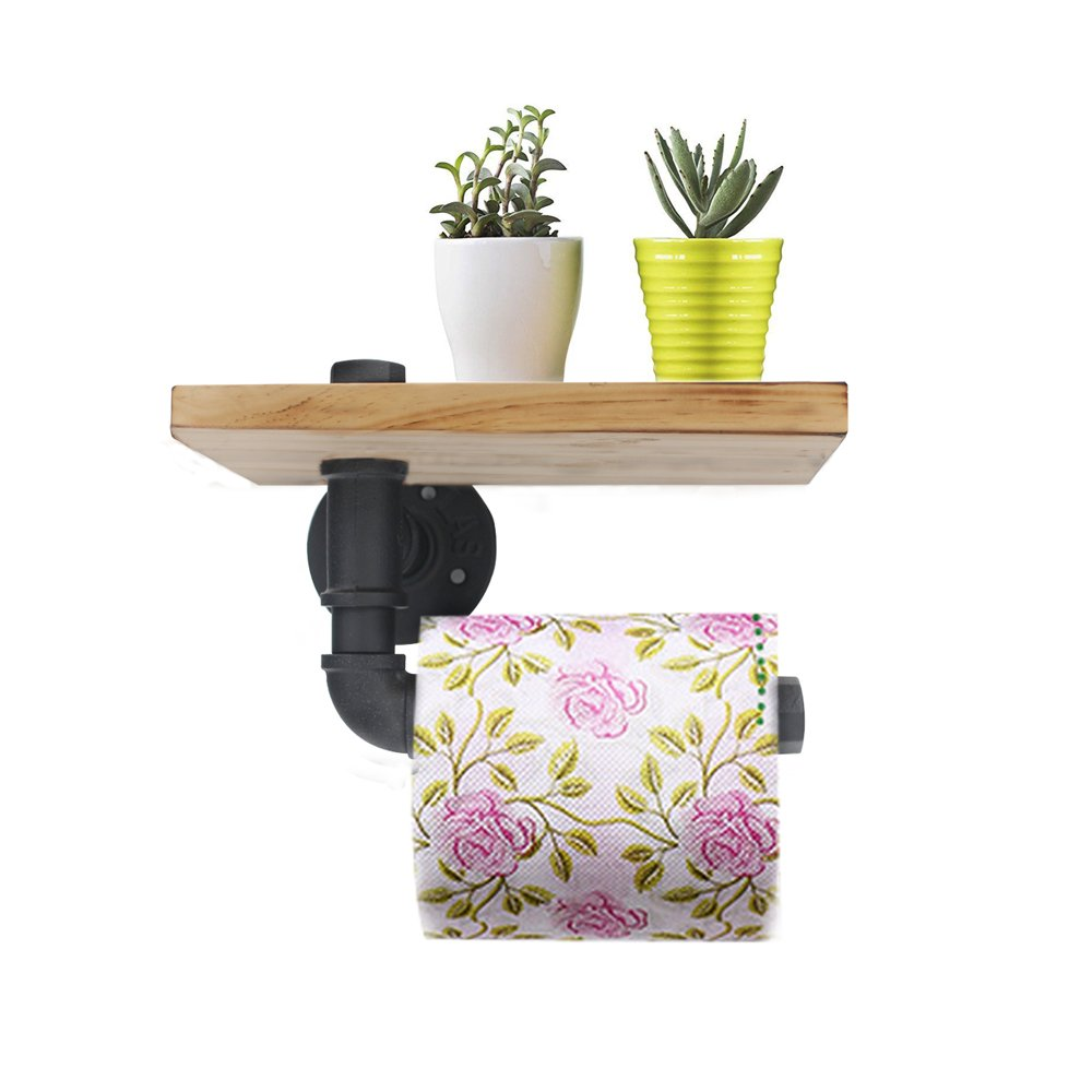 Wall Mount Toilet Paper Holder, Industrial Iron Pipe Bathroom Tissue Holder with Mobile Phone Storage Shelf(Single Face)