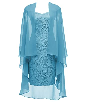 fd6d964358e DYS Women s Two Pieces Mother of The Bride Evening Dress with Jacket Sheath  Aqua ...
