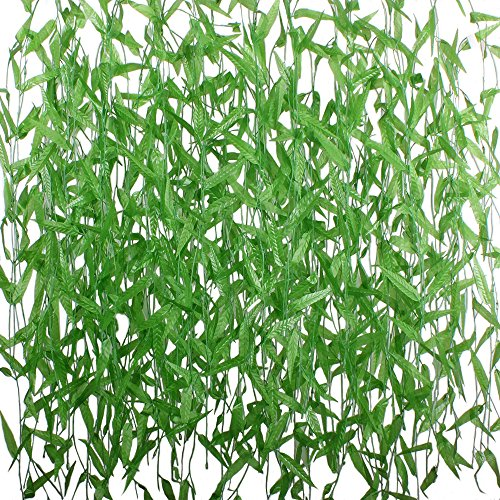 Hogado 50pcs 375 Feet Artificial Vine Faux Silk Willow Rattan Wicker Twig Green Leaves Garland Simulation Home Garden Office Wedding Windowsill Balcony Courtyard Decor