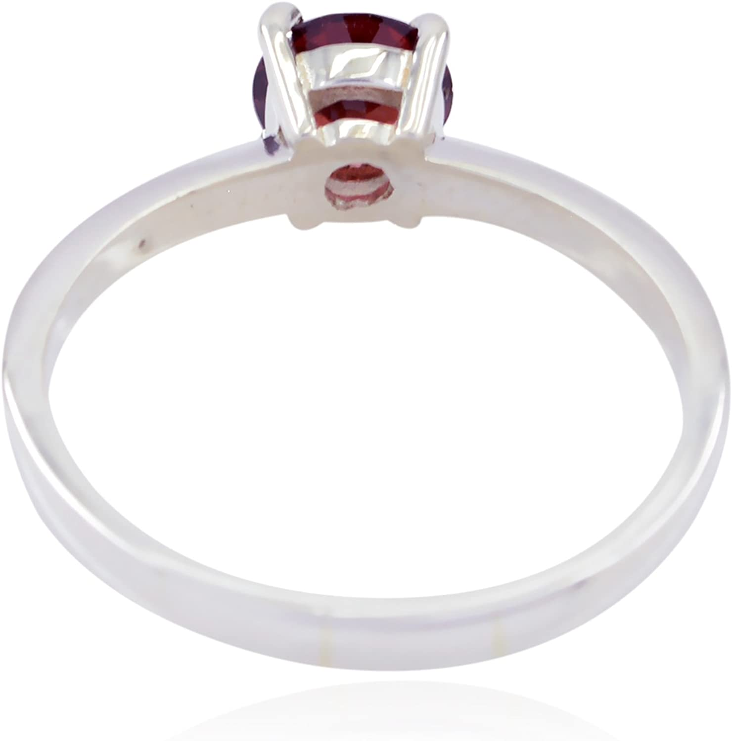 Natural Gemstone Round Faceted Garnet Rings 925 Sterling Silver Red Garnet Natural Gemstone Ring top Jewelry fine Item Gift for Fathers Day top Ring