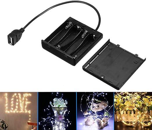 Justdolife Soporte para Pilas AA Alimentación con USB 4 X Soporte ...