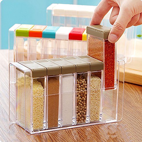 eed 6 Pcs Seasoning Rack Spice Pots Storage Container Condiment Jars with Tray for Salt Sugar Cruet ()