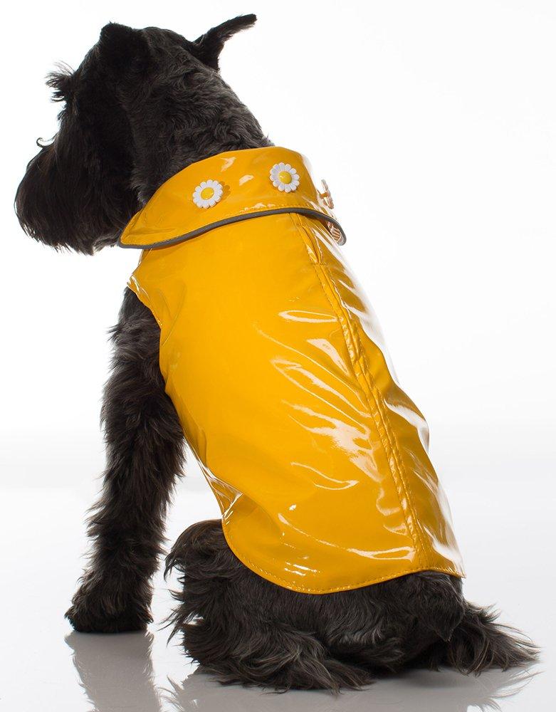 Legitimutt Butter Soft Vinyl Slicker with Daisy Buttons Dog Coat, Size 14, Yellow