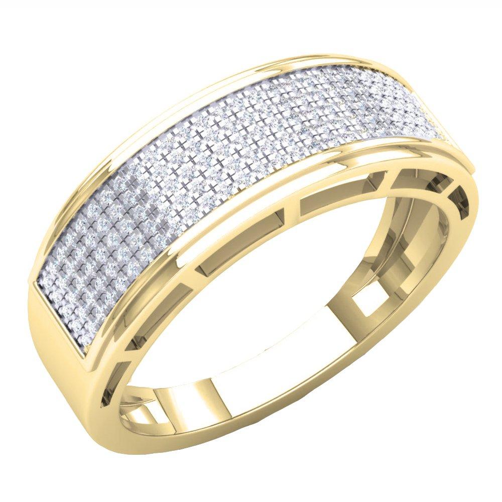 0.40 Carat (Ctw) 14K Yellow Gold Round Diamond Men's Hip Hop Anniversary Wedding Band (Size 11)
