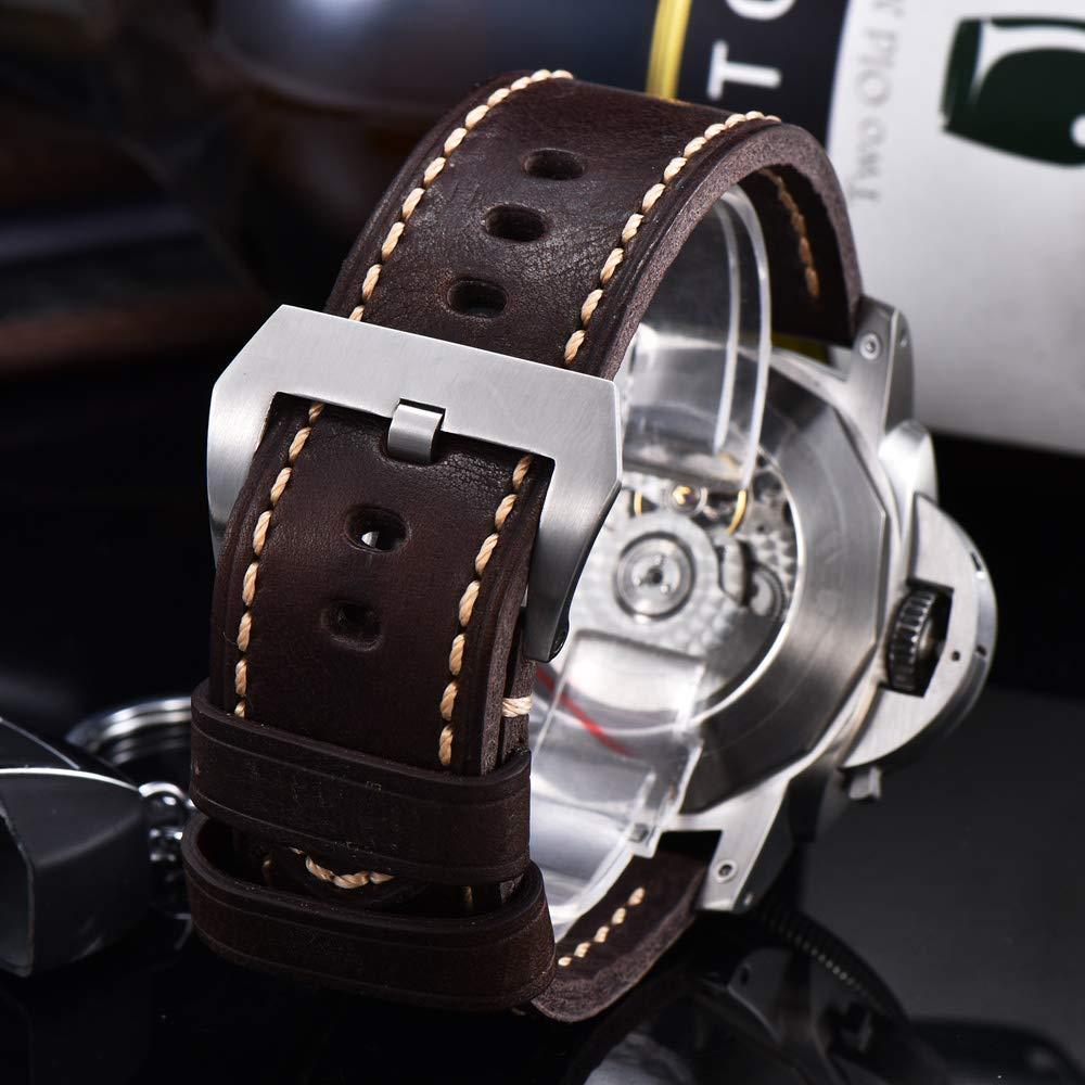 47 mm automatisk mekanisk klocka män handled rostfritt stål fodral rem vattentät lysande herrklocka a