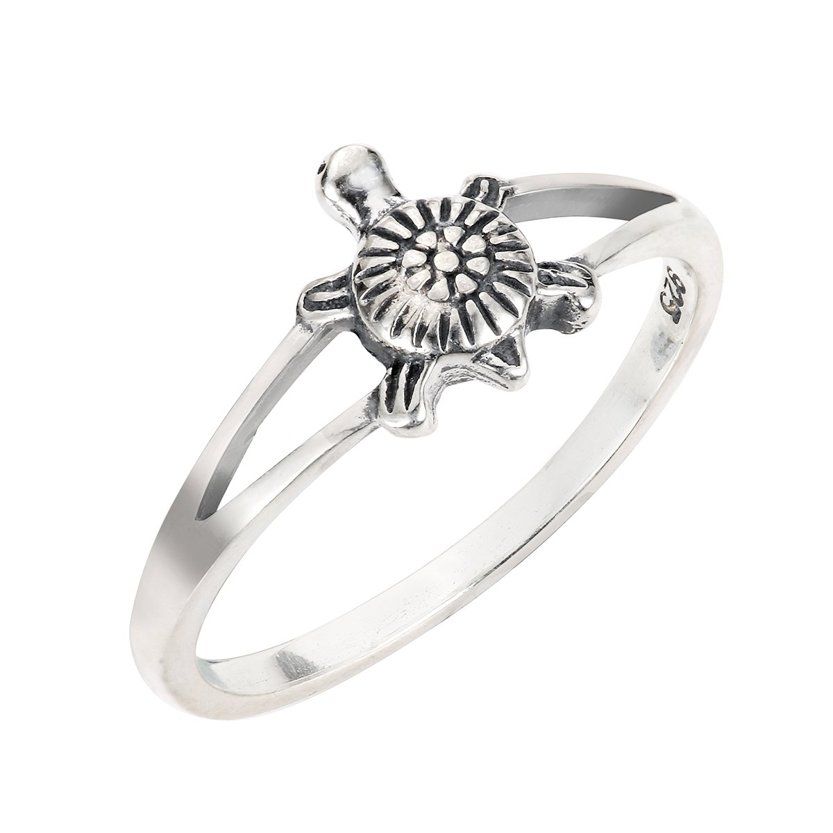 CloseoutWarehouse Sterling Silver Solitaire Sea Turtle Honu Ring Size 14