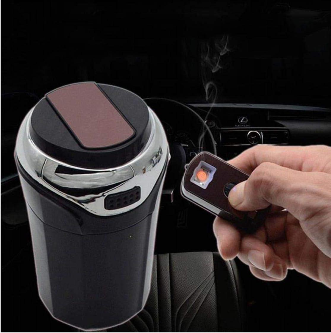 PiniceCore 2 in 1 Praktische Praktische Tragbare Leichtbau-Auto-Aschenbecher Asche Halter abnehmbar Zigarettenanz/ünder mit LED-Licht