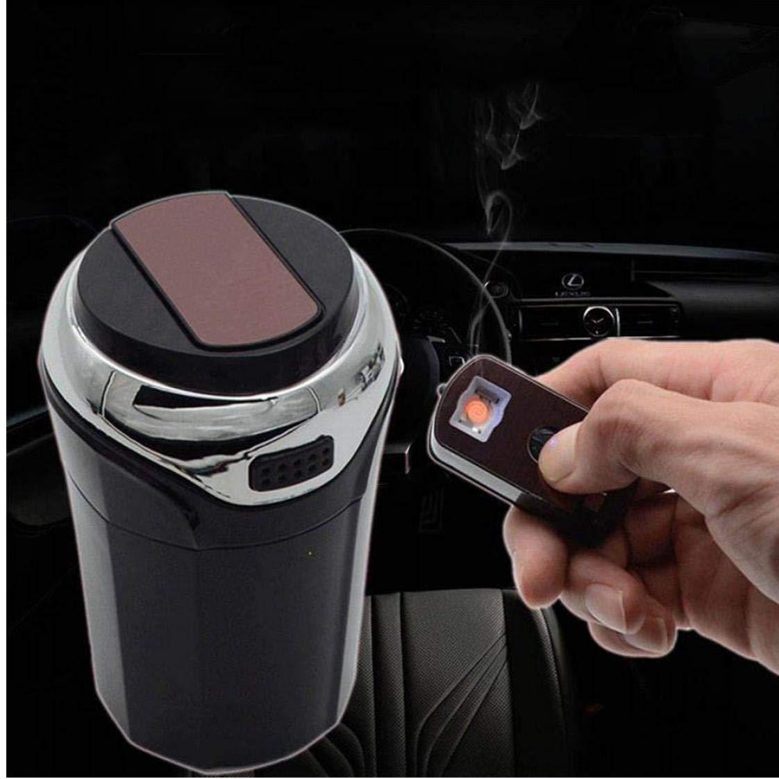 PiniceCore 2 in 1 Portatile conveniente Holder Leggero Auto Car posacenere Cenere di Sigaretta Staccabile Pratica Accendino con Luce LED