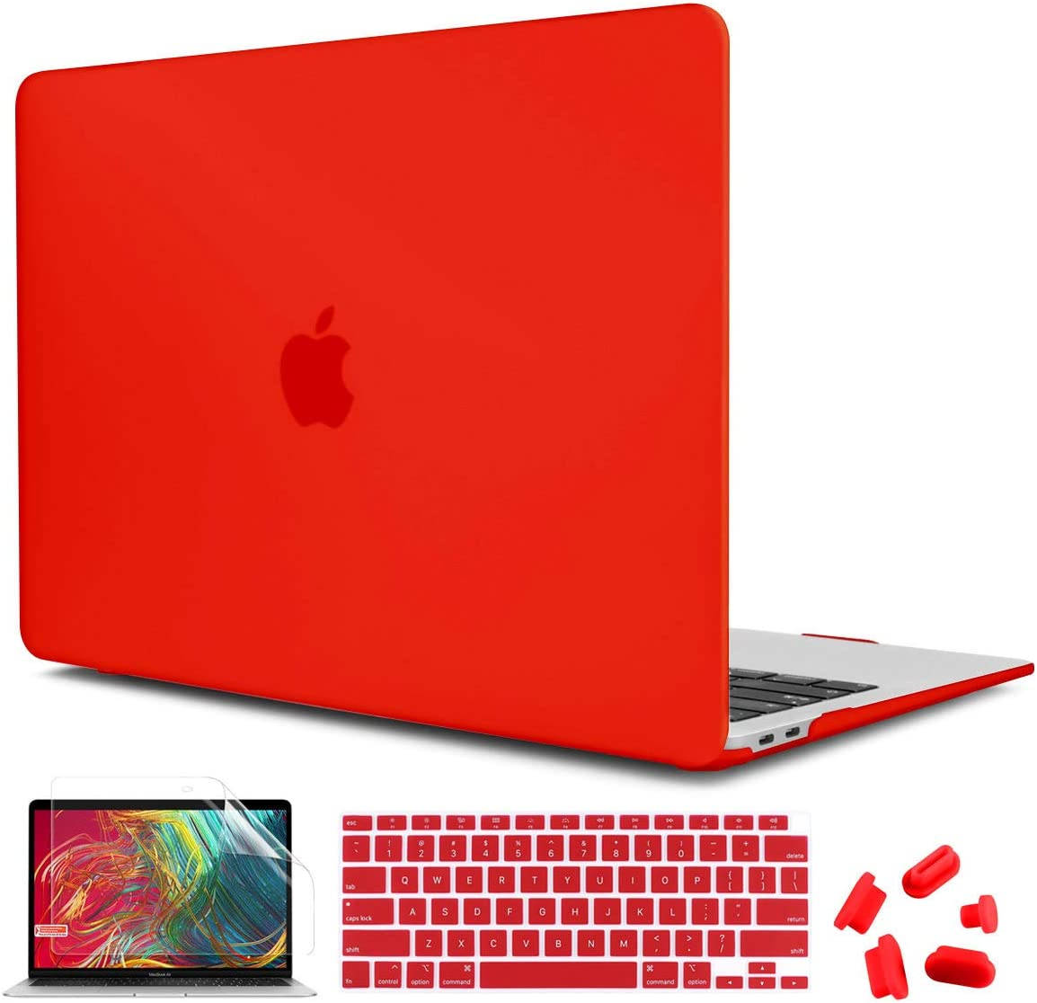 CiSoo Cover for MacBook Air 13 Inch Case Red, Plastic Hard Shell Case with Keyboard Cover for MacBook Air 13 A2179 A2337 M1 Model 2020 Release with Touch ID, Matte Red