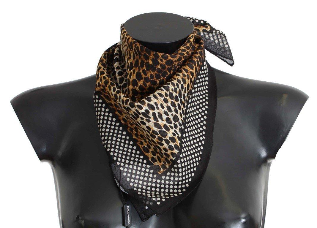 Dolce & Gabbana Brown Leopard Print Cotton Scarf