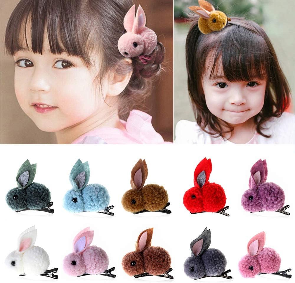 11 Pcs Korean Cute Girls Plush Rabbits Hair Clips Women Hair Rope