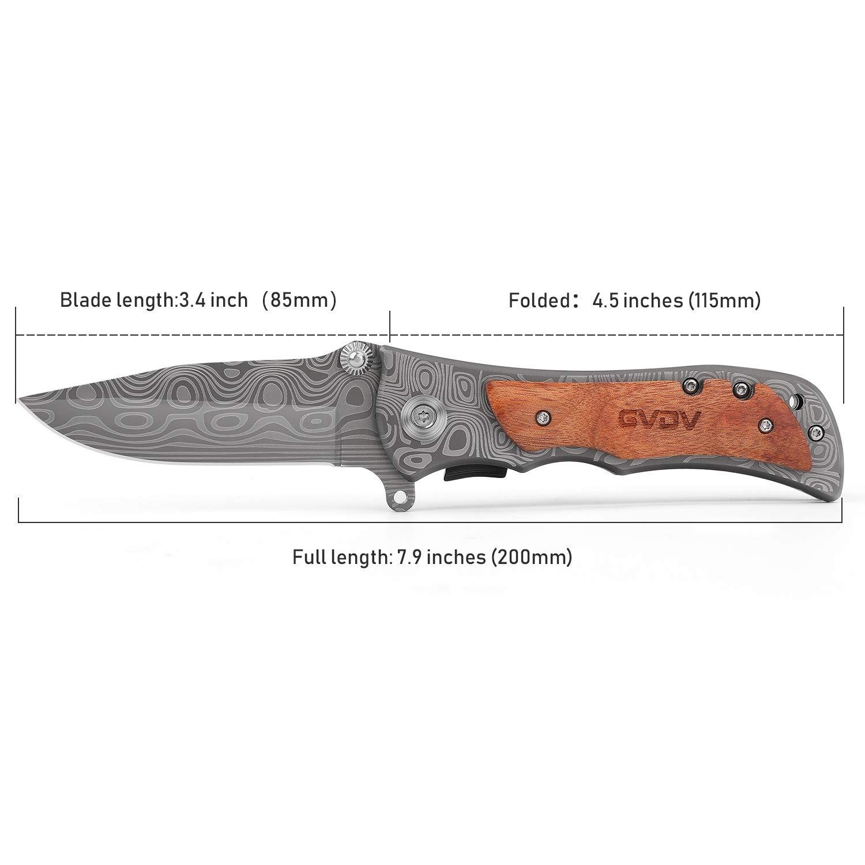 GVDV Senderismo Plegadora de Bolsillo para Navaja de Bolsillo - Utilidad portátil Cuchillos de Caza Acero Inoxidable 7Cr17 con Piedra para afilar ...
