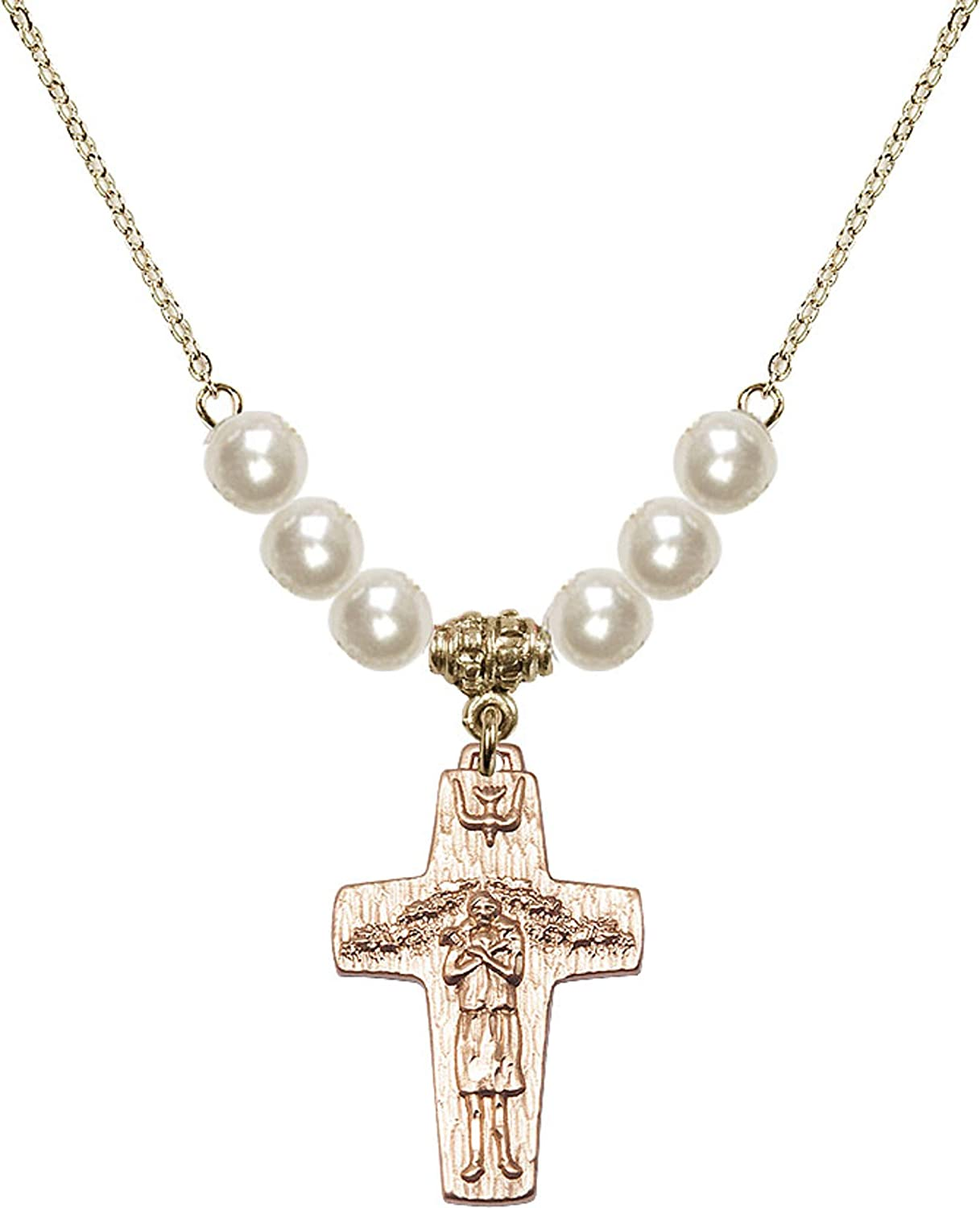 Bonyak Jewelry 18 Inch Hamilton Gold Plated Necklace w// 6mm Faux-Pearl Beads and Papal Crucifix Charm