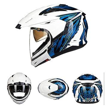 Oztklife Casco De Moto Zenus Viseras Dobles Cara Completa Moto Cascos Racing Moto Cuatro Formas De