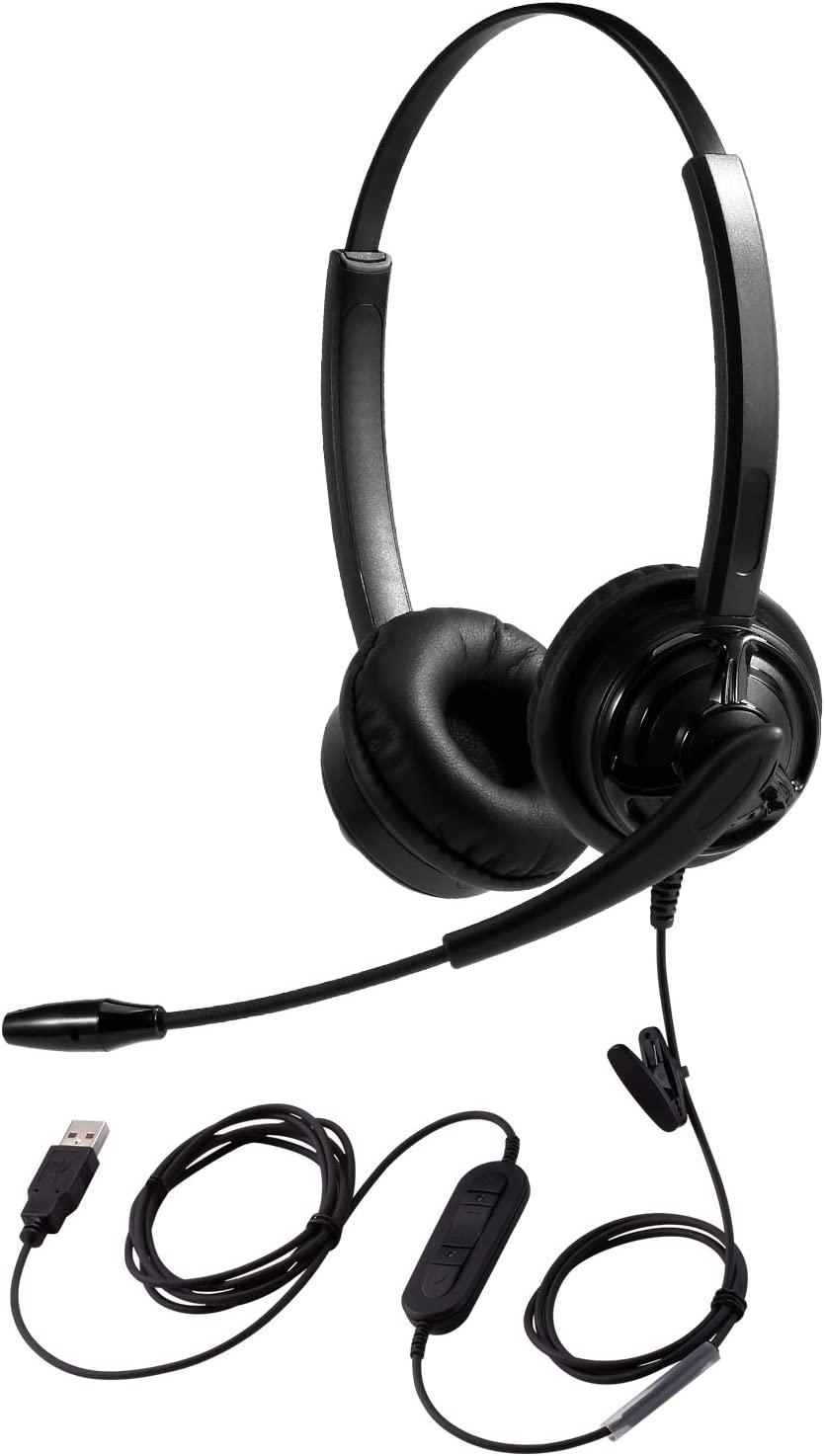 USB Headset for Teams Meeting Skype Call Video Conferencing Virtual Learning Online Teaching Work from Home Call Center Customer Care Service w/Mute Button Volume Control Noise Cancelling Microphone