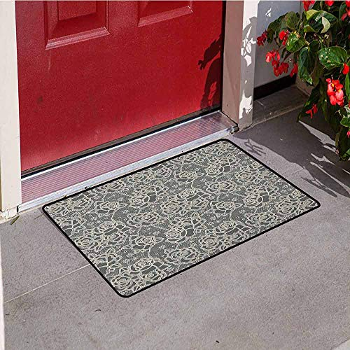 (GloriaJohnson Vintage Welcome Door mat Ornate Romantic Roses Pattern Lace Style Backdrop and Victorian Inspirations Door mat is odorless and Durable W29.5 x L39.4 Inch Dark Taupe Cream)