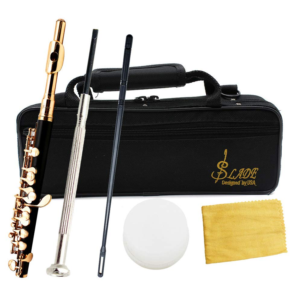 Alician Piccolo Half-Size Flute Cupronickel Silver Plated C Key Tone with Polish Cloth Stick Case Screwdriver Gold by Alician