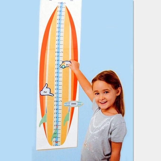 Babalu Gráfico de Gro de tabla de surf tabla de crecimiento con altura de muebles 12 pegatinas mide hasta 5 pies de altura: Amazon.es: Hogar