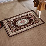 """KEYAMA 32""""x 20""""Acrylic Non-Slip Carpet Stair Treads Thicken Rectangle Jacquard parlor floral Area Rugs Classical doormats Stair corner matching landing carpet mats 059 Brown"""