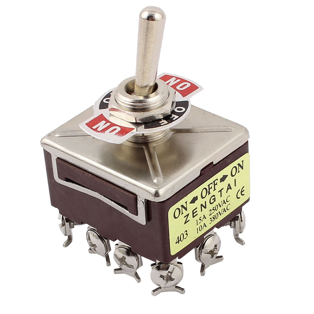 uxcell/® 10A//380VAC 15A//250VAC 3 Position 4PDT ON//OFF//ON 12 Pin Toggle Switch