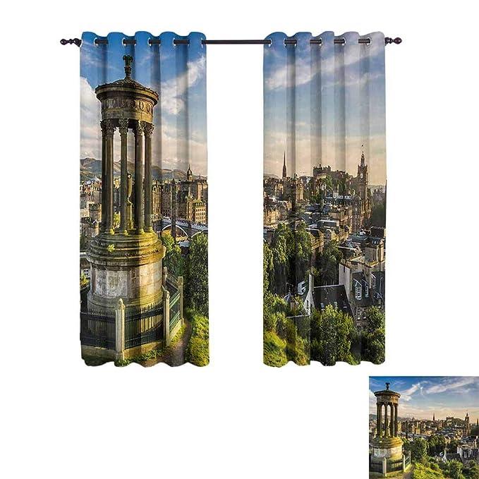 Jktown Cityscape - Cortinas para Interior y Exterior (Vista aérea de Edificios Históricos, 183 x 160 cm), Color Verde y Azul: Amazon.es: Hogar