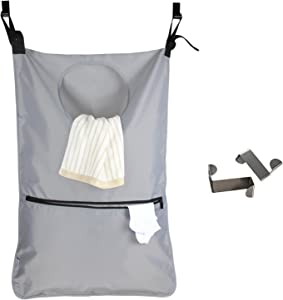 LUXJA Adjustable Hanging Laundry Hamper with 2 Stainless Steel Hooks, Laundry Hamper Bag, Gray