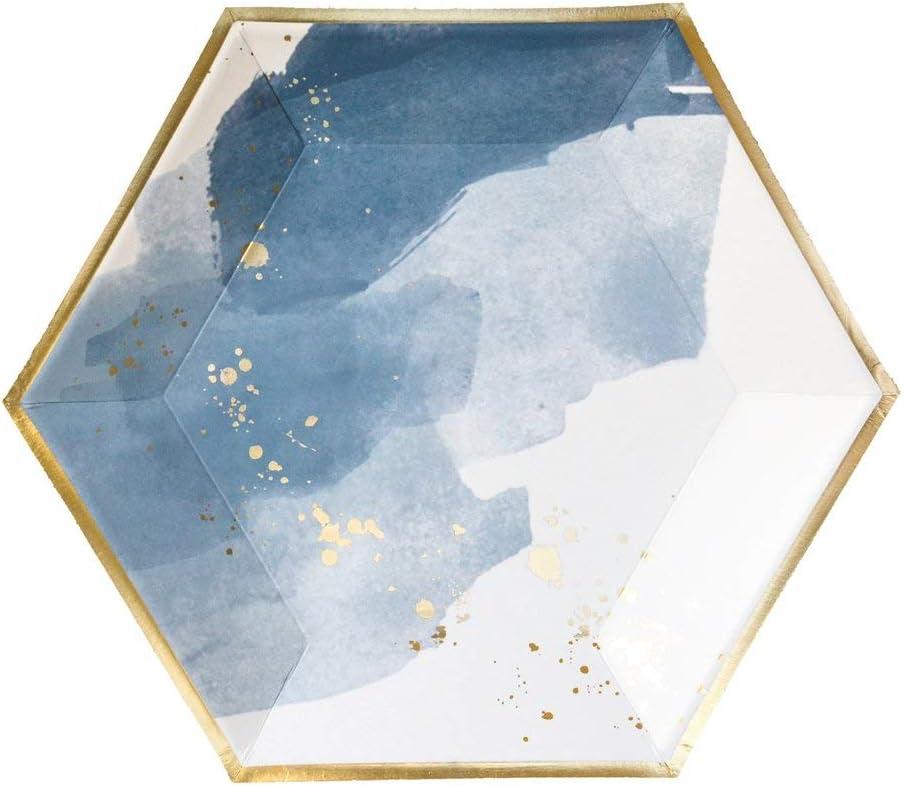 Blue Watercolor w Gold Gro/ße Pappteller Geburtstag Hochzeit Duschen Einweg-Partyteller Harlow /& Grey Malibu 8 Count blau