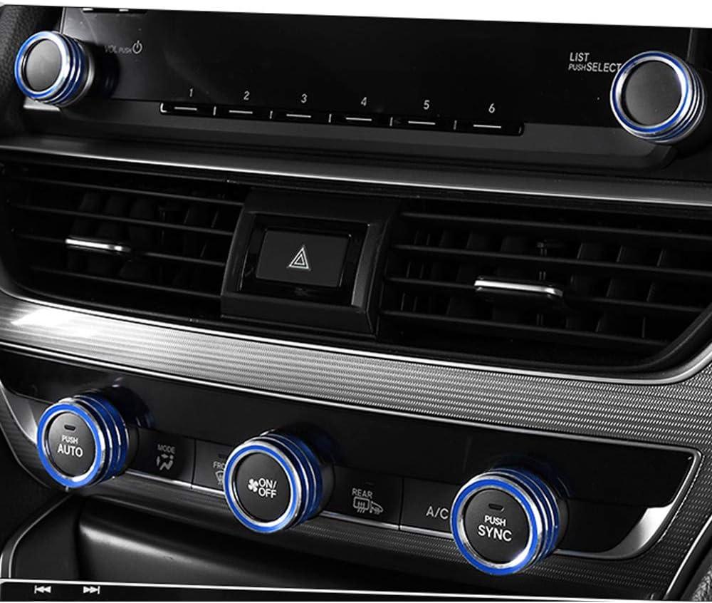 Blue Aluminum 5pcs Tocatus for 2018 2019 Honda Accord Centre Console AC Air Conditioning Switch Knob
