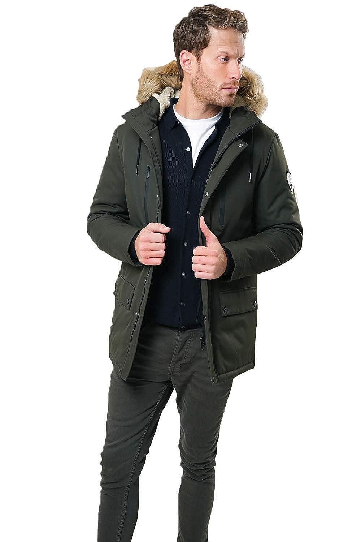 Threadbare - Chaqueta acolchada con capucha y cremallera para hombre Verde O Grady - Caqui - Verde L