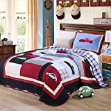 KekeHouse Childrens Boys 100% Cotton Car Pattern Quilted Bedspread Patchwork Throws Blanket Single/Double Bed 2Pcs 180 X 220CM