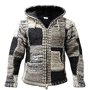 shopoholic fashion homme gris noir laine capuche FESTIVAL DES HIPPIES veste