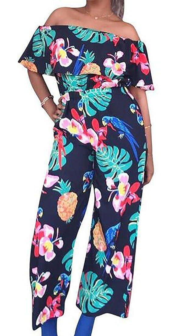 WANSHIYISHE-Women Floral Print Off Shoulder Ruffles Wide Leg Palazzo Long Jumpsuits