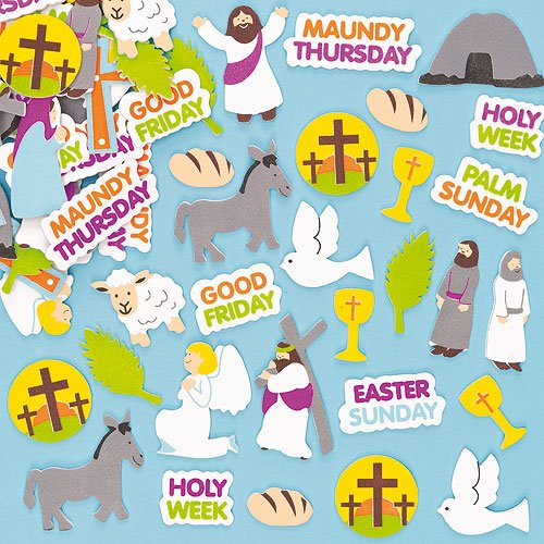 Kids Craft Holy Week Foam Stickers to Learn About Jesus and the Easter Story (Pack of 100)