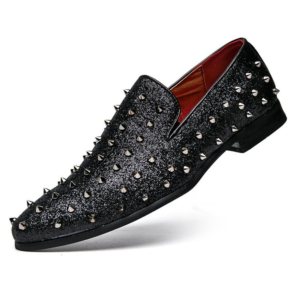 Apragaz Personalidad de los Hombres Zapatos de Baile, talón Plano del Remache del talón Plano en los Zapatos de Vestir Mocasines de Color sólido (Color ...