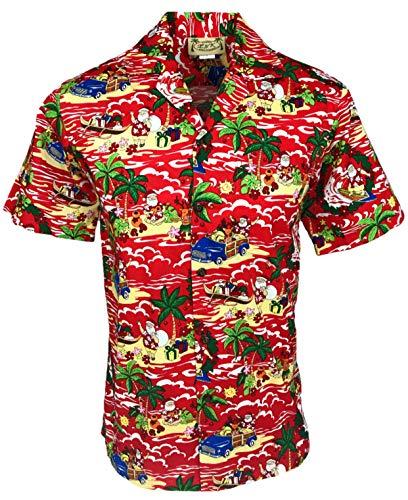 E&K Fashion Men's Christmas Hawaiian Shirt (Small, Island Santa Red)