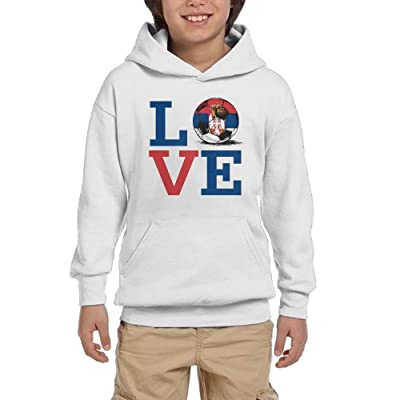 2018 Love Serbia Football Boy Casual With Pocket Hooded Long Sleeve Pullover Sweatshirts