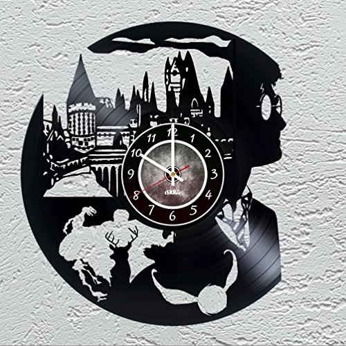 [WIZARDS Vinyl Record Wall Clock for fans of magic world - Get unique kids room wall decor - Gift ideas for boys and girls, teens, friends – Unique Art Design of Magic Wizards] (Costume Party Ideas Movie Characters)