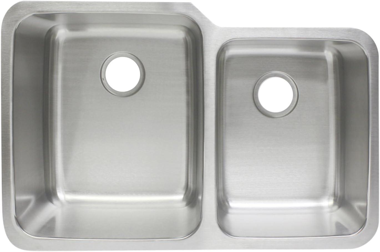Franke FCU104 10 Deep Stainless Steel Offset Undermount Kitchen Sink, 18 g